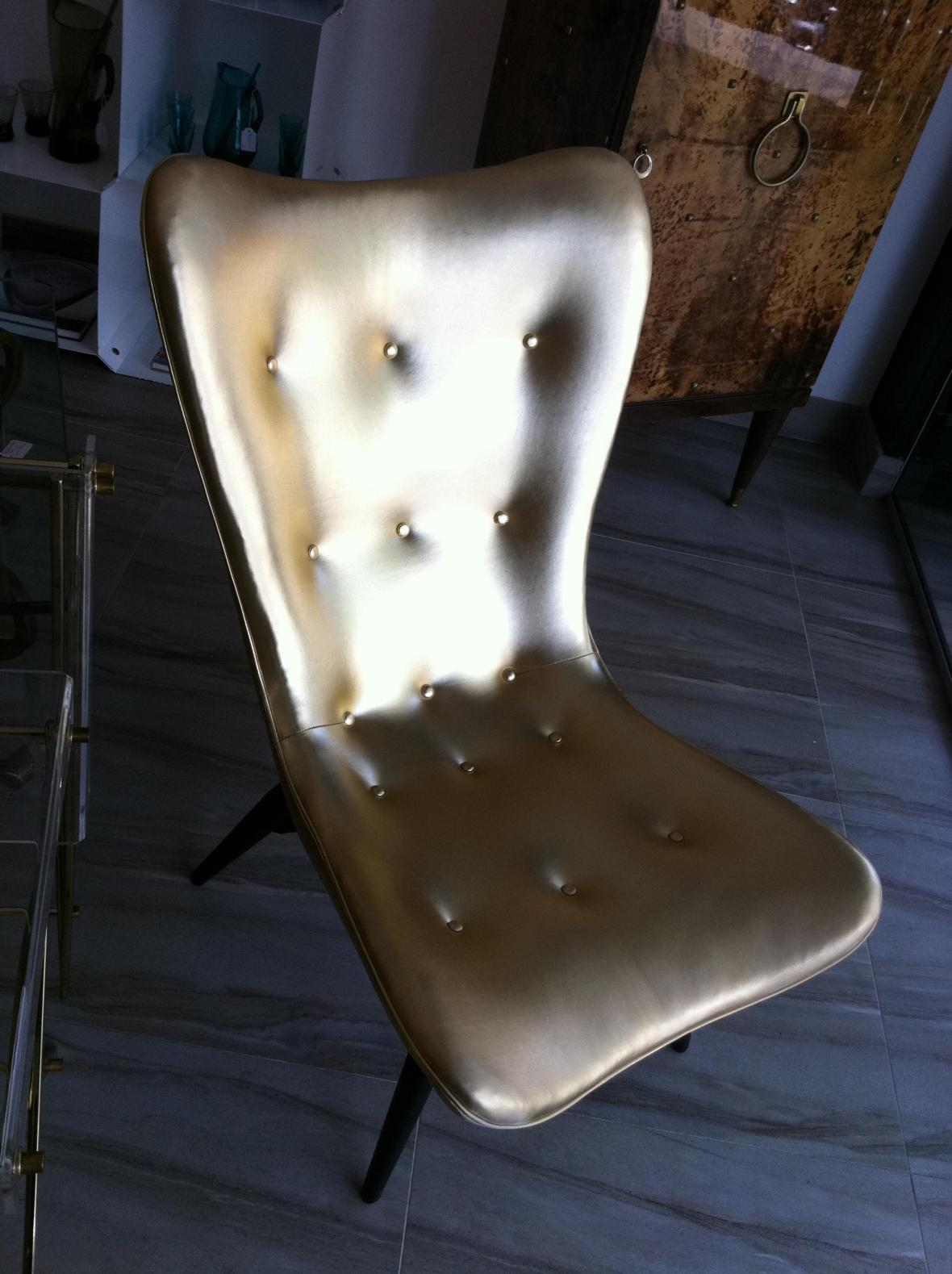 Gold vinyl vintage MadMen style chair - Our Space Interiors 120a Redfern St