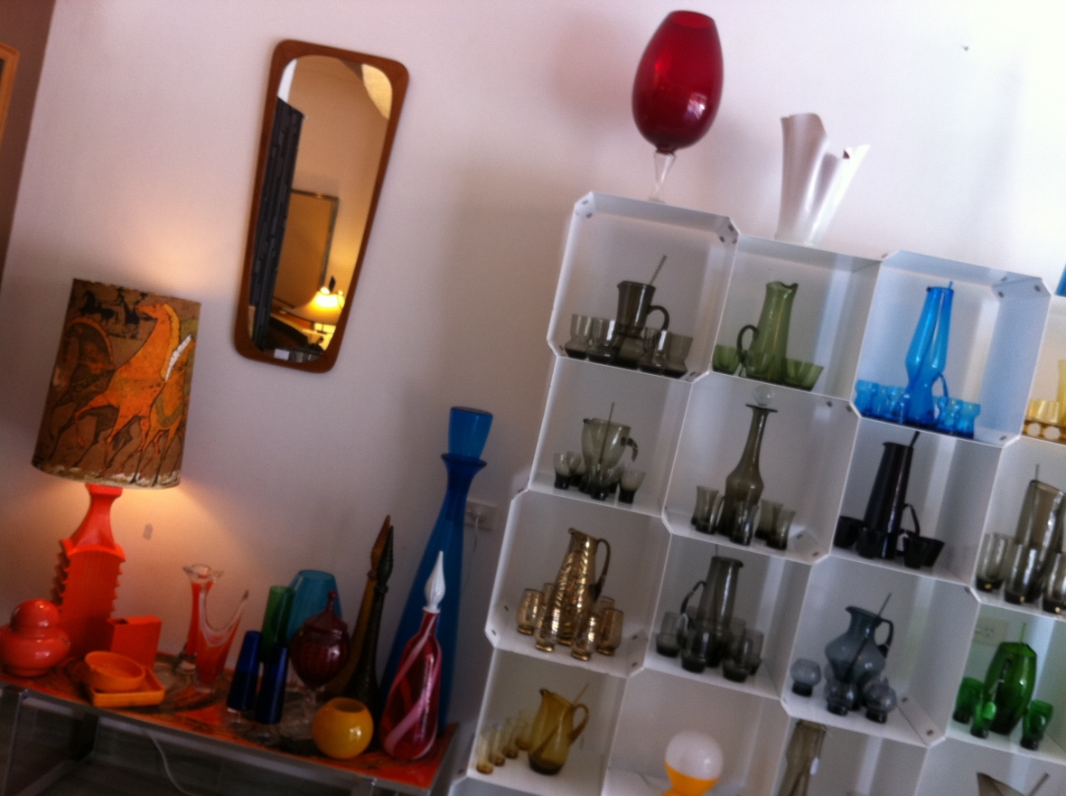 Vintage MadMen style glassware, jugs, vases, cups, mirrors & ornaments - Our Space Interiors 120a Redfern St