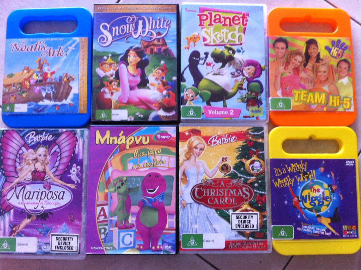 Noah's Ark, Snow White, Planet Sketch, Hi-5, Barbie, Barney, Barbie, The Wiggles