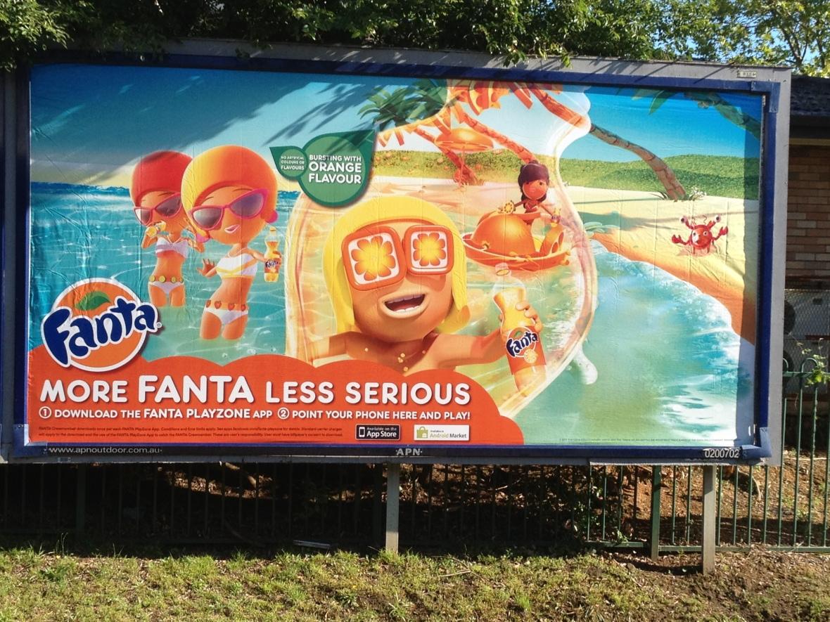 More Fanta, Less Serious billboard at Bankstown Station