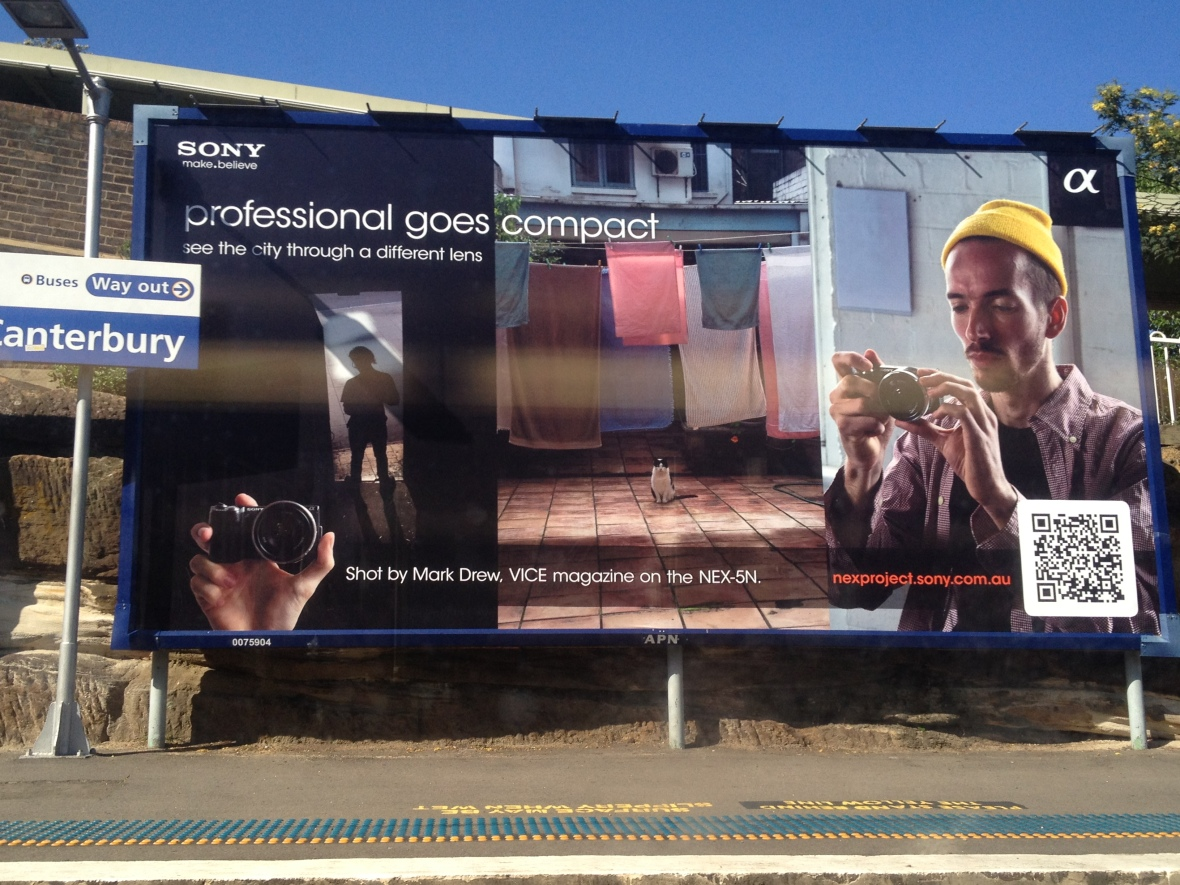 Sony billboard at Canterbury station, with QR code