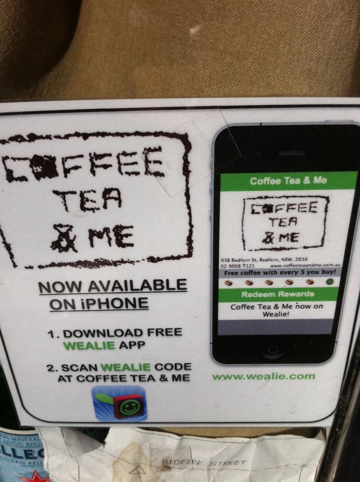 Coffee, Tea, Me - Wealie Loyalty Card app instructions