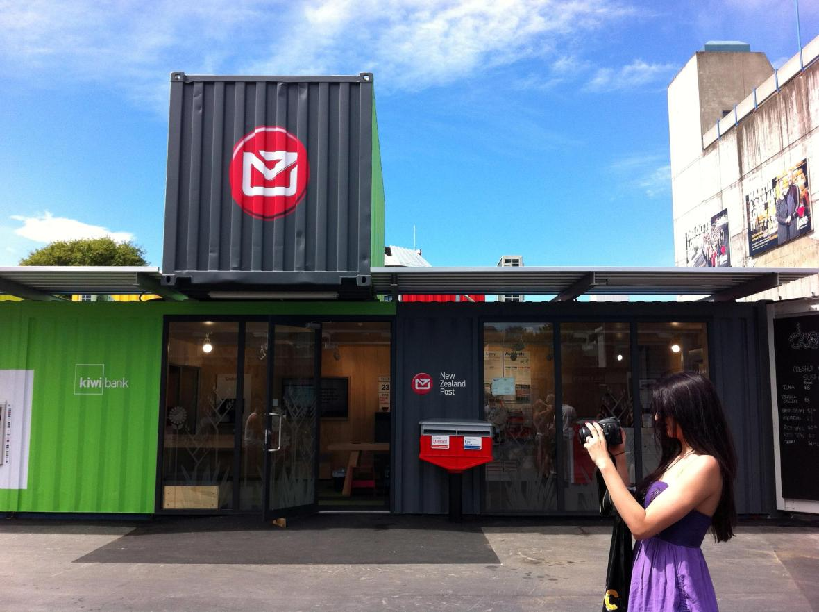 Christchurch New Zealand Restart - shipping container shop, NZPost