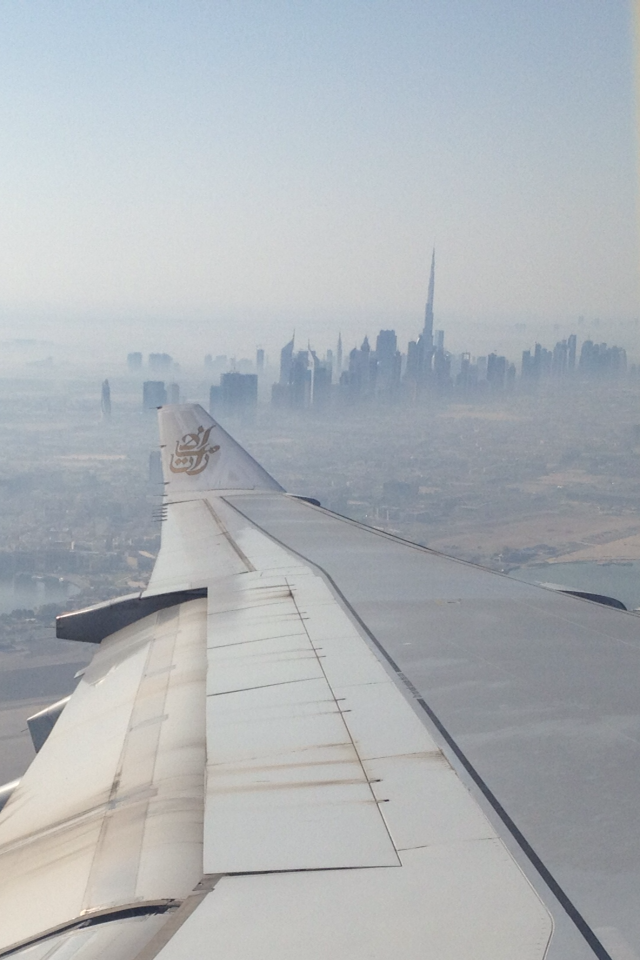 Dubai from Emirates plane - this city might need highrise parcel lockers