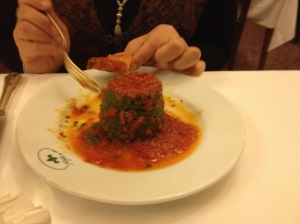 Beyond amazeballs, spinach and tomato in restaurant Rome Italy, Nino via Borgognona 11