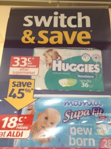 Catalogue - ALDI comparative price nappies wall poster instore POS