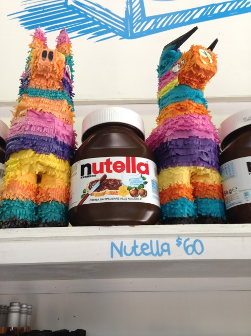5kg of Nutella flanked by pinata Salt Meats Cheese providore - 41 Bourke Road Alexandria
